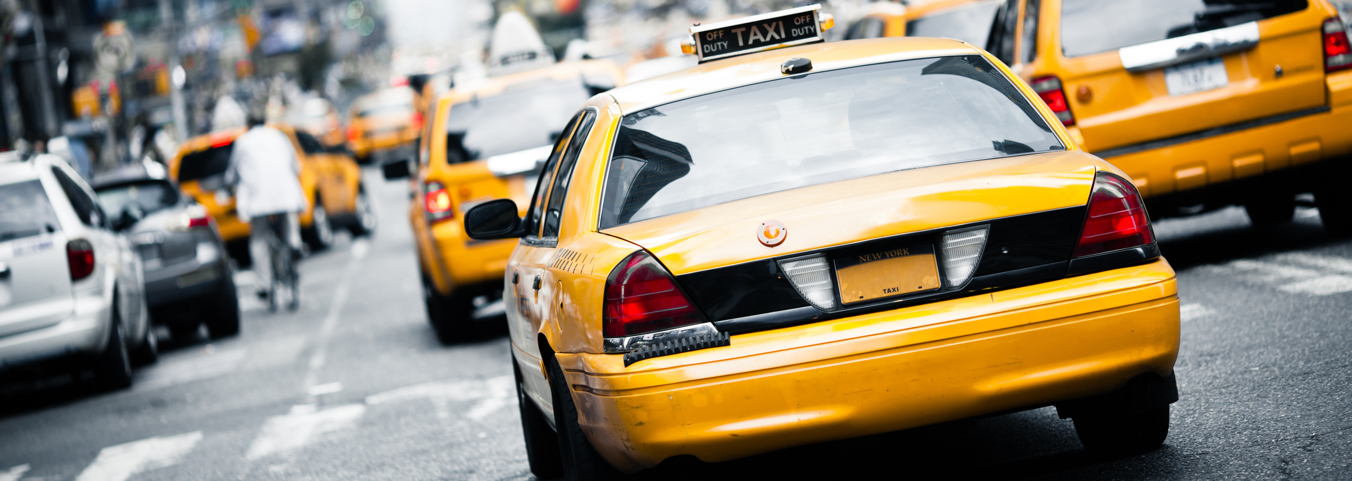 taxi on city street
