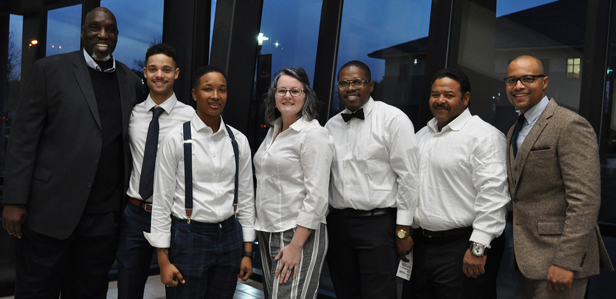 NBRITI students who were accepted into the ExxonMobil apprentice program with NBRITI officials. L to R: Larry Galloway (ExxonMobil retiree and NBRITI volunteer instructor), students Nicolas Lewis, Kia Brown, Lena Toups, Kevin Turner, and Cordell Tucker, and Dr. Girard Melancon, BRCC Vice Chancellor for Workforce Solutions.