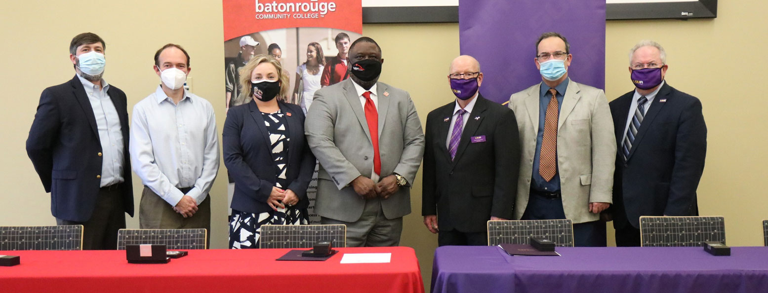 BRCC_LSUA 1: Pictured (left to right)  BRCC Business Department Chair Pearce Cinman, BRCC Business Instructor Lee Buckner, BRCC Vice Chancellor for Academic and Student Affairs Dr. Sarah Barlow, BRCC Chancellor Dr. Willie E. Smith, LSUA Chancellor Dr. Paul Coreil, LSUA Associate Vice Chancellor and Vice Provost Dr. Eamon Halpin, and LSUA Dean of the College of Business Dr. Randall Dupont.