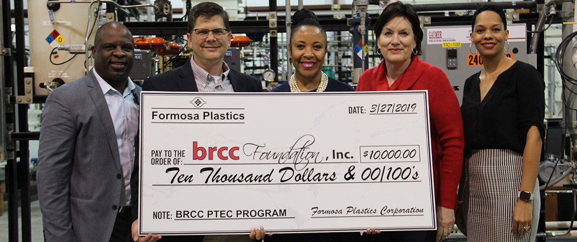 Official check presentation from Formosa Plastics. L to R: Mr. Mike Bledsoe, Formosa Plastics Human Resource Specialist and PTEC Advisory Board Chair; Mr. Paul Heuratevant, Formosa Plastics Plant Manager; Dr. Larissa Littleton-Steib, BRCC Chancellor; Ms. Laura Younger, BRCC Vice Chancellor for Academic and Student Affairs; and Dr. Brandy Tyson, Dean for Technical Education.