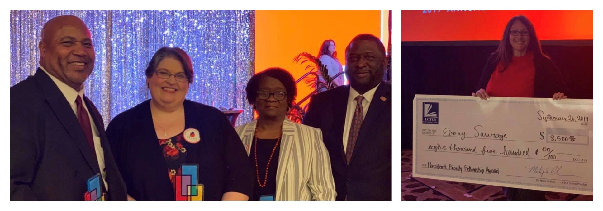 BRCC celebrates our faculty and staff members who were honored at this year's LCTCS Annual Conference. L to R: David Sylvester, Computer Science Professor; Buffy Brinkley, Assistant to Dean of Technical Education; Dava Prince, Student Success Coach; BRCC Interim Chancellor Dr. Willie E. Smith; and Eboni Saurage, Practicing Surgical Technologist.